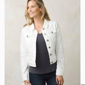 NEW Prana Denim Distressed White Jean Jacket Med